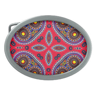 Beautiful Colorful Paisley Pattern,Red Paisley Oval Belt Buckle