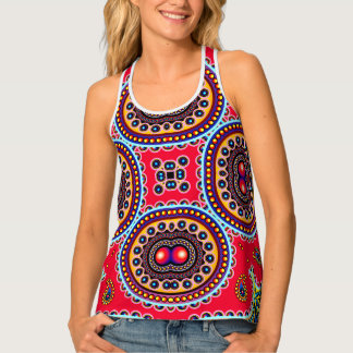 Beautiful Colorful Paisley Pattern,Red Paisley Tank Top
