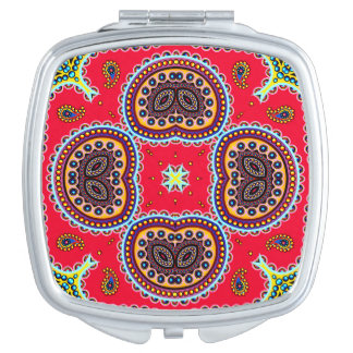 Beautiful Colorful Paisley Pattern,Red Paisley Travel Mirror