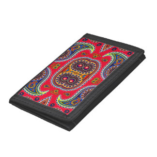 Beautiful Colorful Paisley Pattern,Red Paisley Trifold Wallet