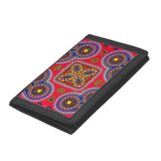 Beautiful Colorful Paisley Pattern,Red Paisley Trifold Wallets