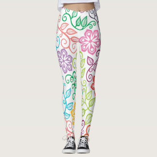 Beautiful colorful rainbow floral leggings