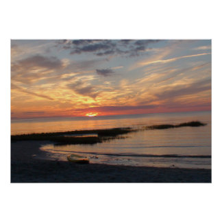 Beautiful colorful sunset off a beach in Cape Cod Poster