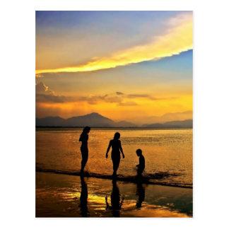 Beautiful colorful sunset postcard