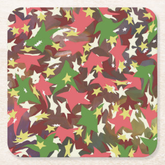 Beautiful colorful swirling stars square paper coaster