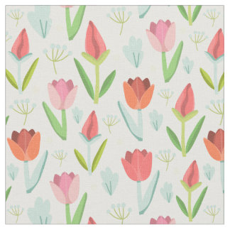 Beautiful Colorful Tulips With Leafs Fabric
