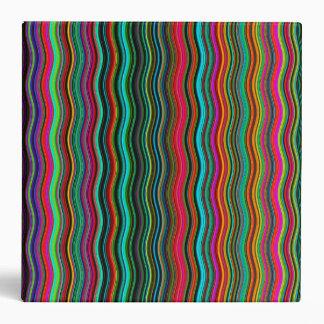 Beautiful Colorful Wavy Stripe Pattern 3 Ring Binder