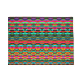 Beautiful Colorful Wavy Stripe Pattern Doormat