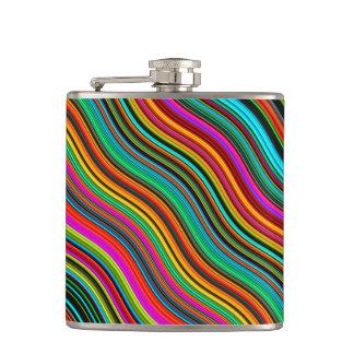 Beautiful Colorful Wavy Stripe Pattern Hip Flask
