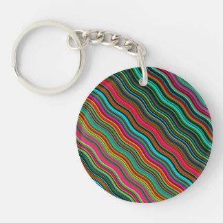 Beautiful Colorful Wavy Stripe Pattern Keychain