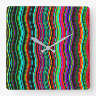 Beautiful Colorful Wavy Stripe Pattern Square Wall Clock