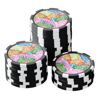 Beautiful colorful zebras africa wildlife poker chips