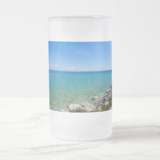 Beautiful Colors Of Lake Huron Frosted Glass Beer Mug