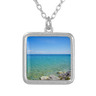 Beautiful Colors Of Lake Huron Silver Plated Necklace