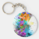 Beautiful colourful and cool splatter music note basic round button keychain