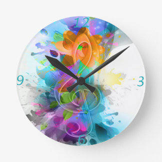 Beautiful colourful and cool splatter music note round clock