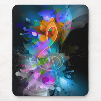 Beautiful colourful cool splatter flowers leaves mouse pad