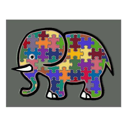 beautiful colourful elephant puzzle postcard
