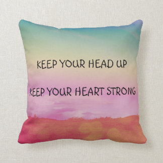 Beautiful colourful pillow with motivational text.