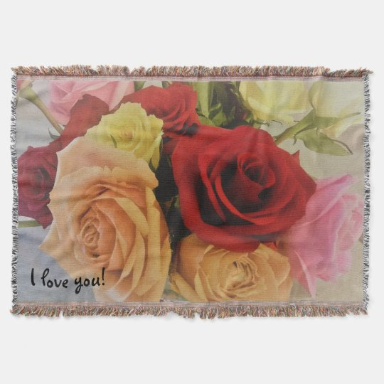 Beautiful Colourful Roses Photo Print I love you Throw Blanket