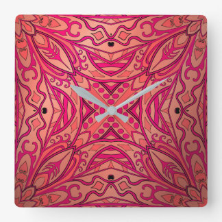 Beautiful complicated pink moroccan ornament square wall clock