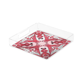 Beautiful complicated red moroccan ornament. perfume tray