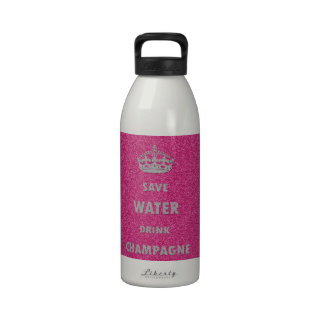 Beautiful cool girly save water drink champagne cr reusable water bottle