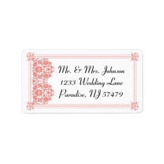 Beautiful Coral Damask & White Wedding - Address