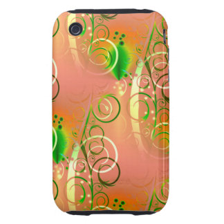 Beautiful Coral Peach Green Yellow Spring Floral Tough iPhone 3 Covers