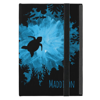 Beautiful Coral Reef Turtle Shadow Black Blue Cover For iPad Mini