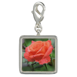 Beautiful Coral Rose with Raindrops Charm