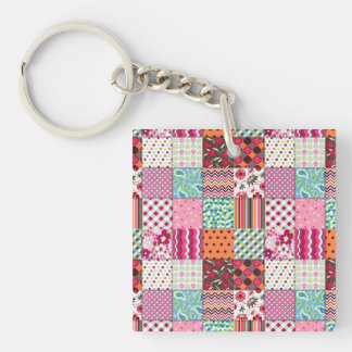 Beautiful Country Patchwork Quilt Square Acrylic Keychain