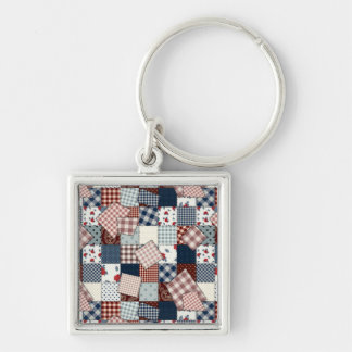 Beautiful Country Patchwork Quilt Silver-Colored Square Keychain
