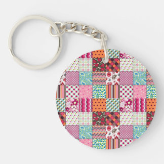 Beautiful Country Patchwork Quilt Round Acrylic Keychain