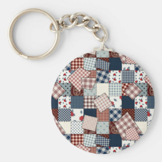 Beautiful Country Patchwork Quilt Basic Round Button Keychain