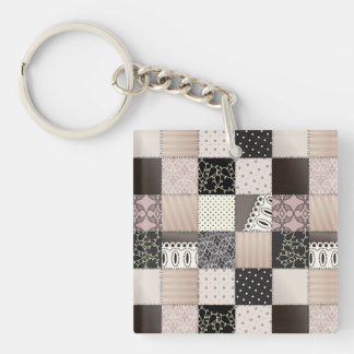Beautiful Country Patchwork Quilt Pink and Black Acrylic Keychains