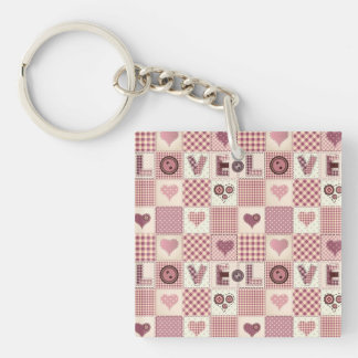 Beautiful Country Quilt that says LOVE Single-Sided Square Acrylic Keychain