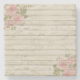 Beautiful Country Shabby Chic Rustic Wood Stone Coaster