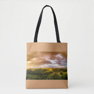 Beautiful Countryside Rainbow Print All Over Tote