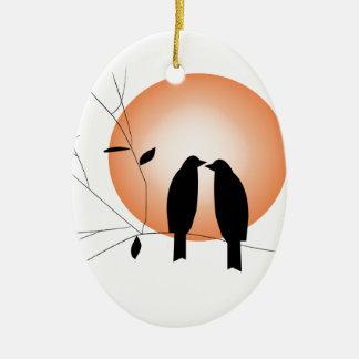Beautiful couple love birds ceramic ornament