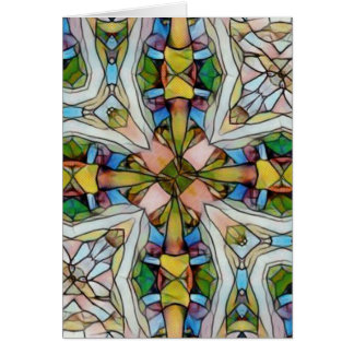 Beautiful Cross Shaped Stained Glass Inspirational Card