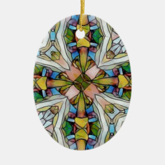 Beautiful Cross Shaped Stained Glass Inspirational Ceramic Oval Ornament