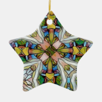 Beautiful Cross Shaped Stained Glass Inspirational Ceramic Star Ornament