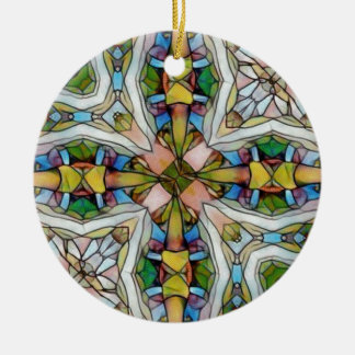Beautiful Cross Shaped Stained Glass Inspirational Round Ceramic Ornament