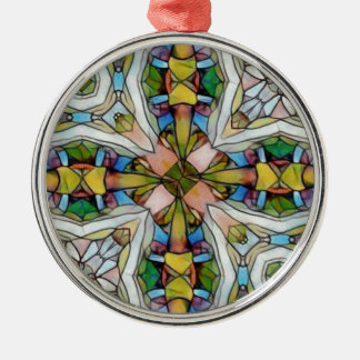 Beautiful Cross Shaped Stained Glass Inspirational Silver-Colored Round Ornament