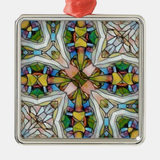 Beautiful Cross Shaped Stained Glass Inspirational Silver-Colored Square Ornament