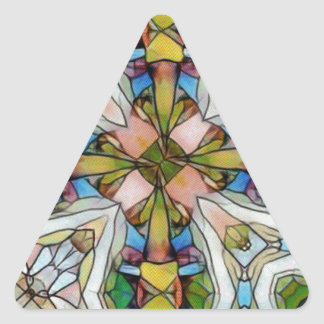 Beautiful Cross Shaped Stained Glass Inspirational Triangle Sticker
