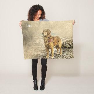 Beautiful Custom Name Golden Retriever Fleece Blanket