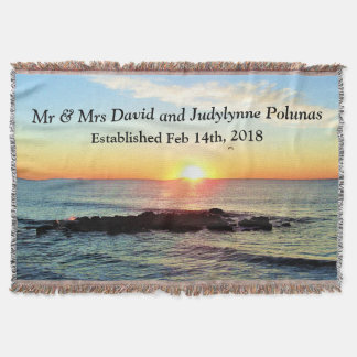BEAUTIFUL CUSTOM SUNRISE PHOTO WEDDING BLANKET