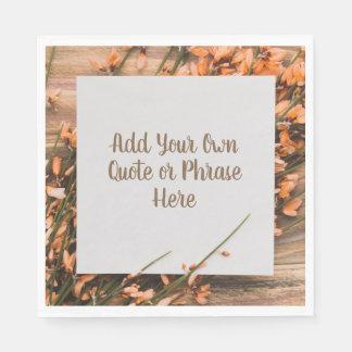 Beautiful Custom Text Rustic paper napkins
